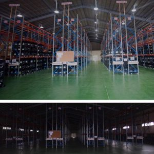 Commercial warehouse before and after